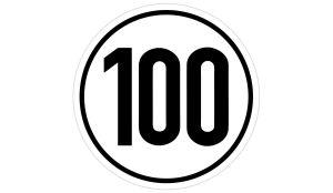100 km/h Geschwindigkeitsaufkleber