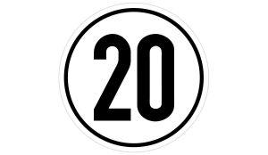 20 km/h Geschwindigkeitsaufkleber