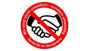 Coronavirus Sticker - Hände schtteln verboten Aufkleber
