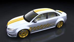 Ralleystreifen -  Doppelte Rennstreifen mit Raceflag 02