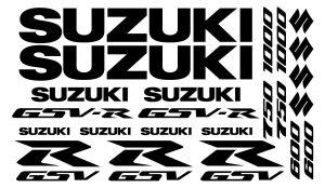 Suzuki GSV-R Set 3 einfarbig - Motorrad Sponsoren Aufkleber