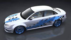 Tuning Aufkleber - Blue Racing Cut